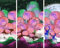 水彩艺术装饰画PSD素材