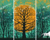艺术树林绘画PSD素材