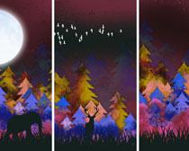 森林绘画色?#39318;?#39280;画PSD素材