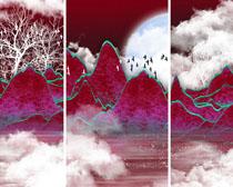 山峰云朵装饰画PSD素材