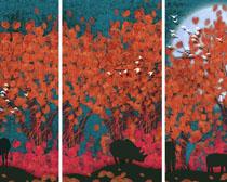 树叶树木动物装饰画PSD素材