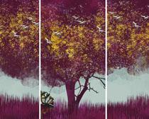 大树绘画展示PSD素材