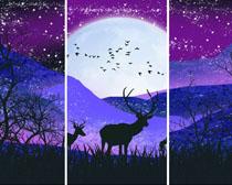 森林动物绘画PSD素材
