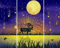 美丽的月亮夜色装饰画PSD素材