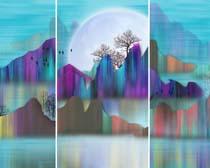 山水风景色彩画PSD素材