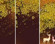 叶子可爱鹿装饰画PSD素材