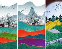 艺术风景色彩画PSD素材