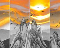 山峰天空绘画PSD素材
