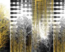 树枝装饰画PSD素材