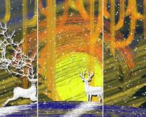 艺术绘画小鹿PSD素材