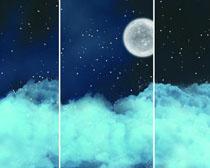 月亮云朵风景PSD素材