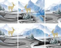 风景鹿艺术画PSD素材