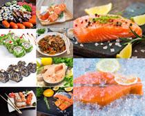 壽司三文魚展示攝影高清圖片