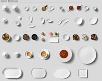 碟子调料勺子餐具PSD素材