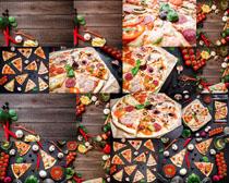 食材披萨展示摄影高清图片