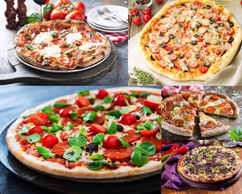 火腿西红柿披萨摄影高清图片