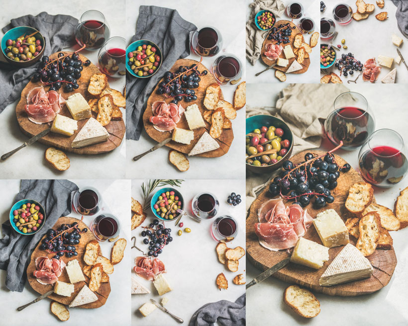 面包葡萄与肉摄影高清图片