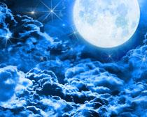 月亮星空背景�PSD素材