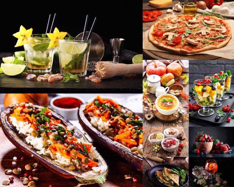 南瓜汤披萨食物摄影高清图片
