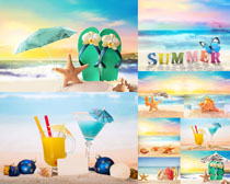 夏日沙灘風光攝影高清圖片