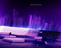 紫色城市背景≡PSD素材