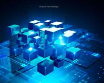 方块科技信�息背景PSD素材