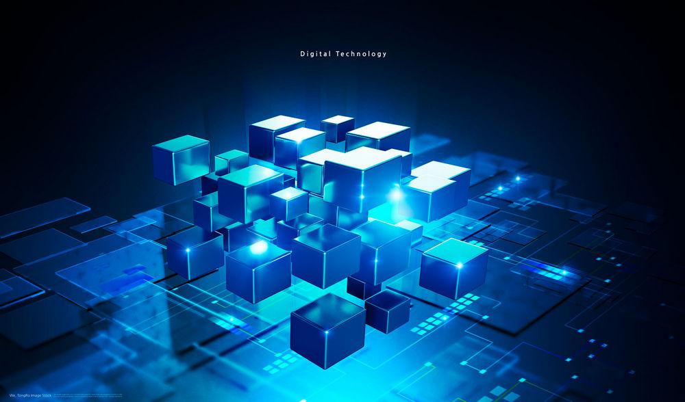 方塊科技信息背景PSD素材