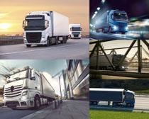 公路上的大型货车摄影高清图片
