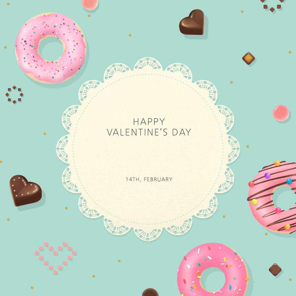 甜甜圈与爱心巧克力PSD素材