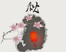 花朵中秋绘画PSD素材