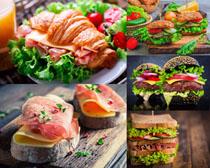 汉堡包与鱼片食物摄影高清图片