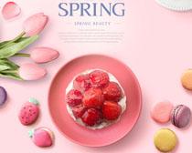 饼干草莓花朵展示PSD素材