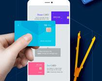 手机�与银行卡PSD素材