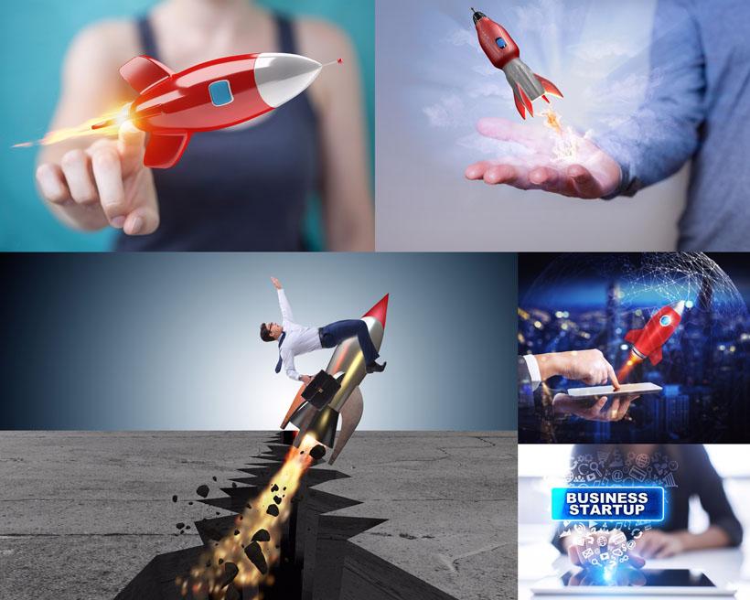 动感火箭商务人士摄影高清图片