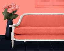 沙发玫�瑰花布置PSD素材
