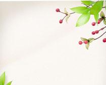 果子与绿叶背景PSD素材