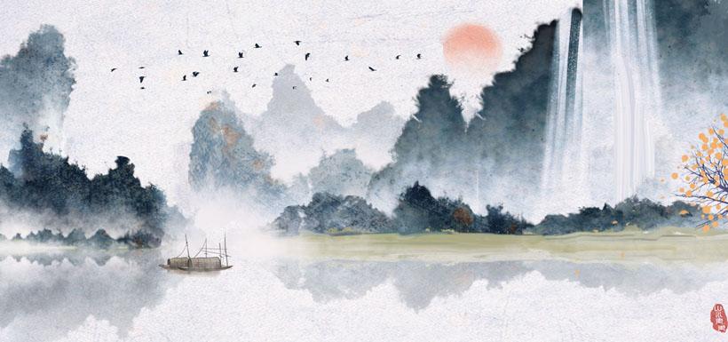 山水艺术风景水墨画时时彩投注平台