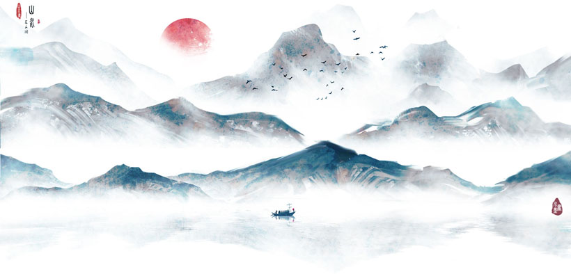 山水风景插画PSD素材