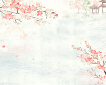 艺术水彩风景画PSD素材