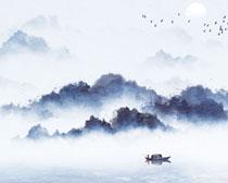云雾风景水墨画PSD素材