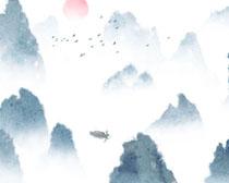 中国水墨风景画PSD素材