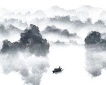 湖水山峰水墨画PSD素材