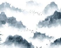 云雾树木风景画PSD素材