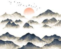 水墨山峰风景画PSD素材