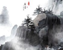 山峰树木水墨画PSD素材