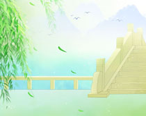 公园绘画风景PSD素材
