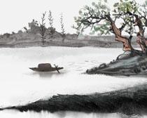 水墨艺术风景画PSD素材