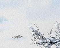 冬季梅花风景画PSD素材