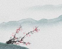 山峰梅花绘画PSD素材