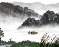 山峰湖泊水墨画PSD素材